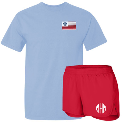 Monogrammed Embroidered Patriotic Flag Comfort Colors Tee And Athletic Short Set