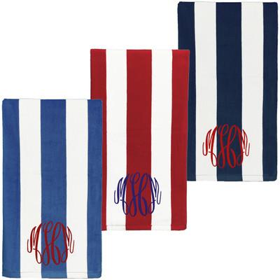 Monogrammed Patriotic Stripe Beach Towel