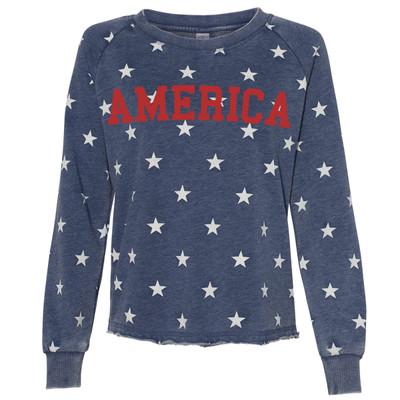 America Burnout French Terry Crewneck Sweatshirt - Navy Stars