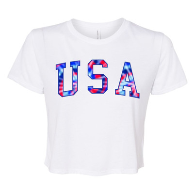 USA Tie Dye Bella Canvas Flowy Cropped Tee