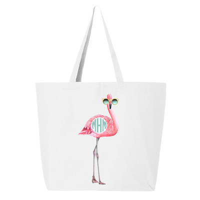 Personalized Flamingo With Sunglasses Canvas Tote Bag - White