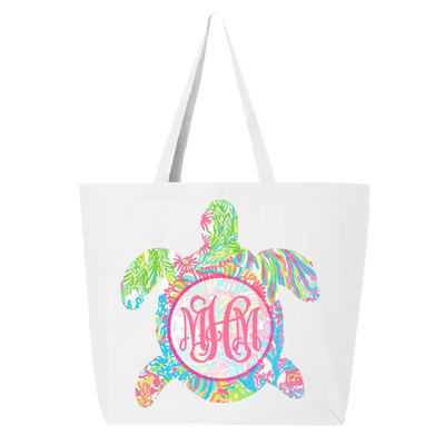 Personalized Lilly Sea Turtle Canvas Tote Bag - White