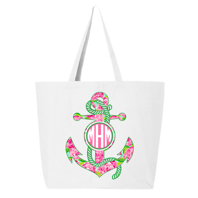Personalized Lilly Anchor Canvas Tote Bag - White