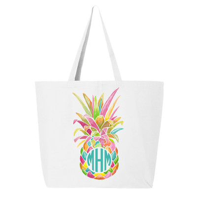 Personalized Rainbow Pineapple Tote Bag - White