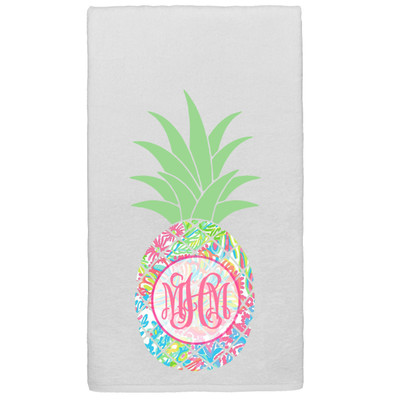 Monogrammed Lilly Pineapple Graphic Beach Towel