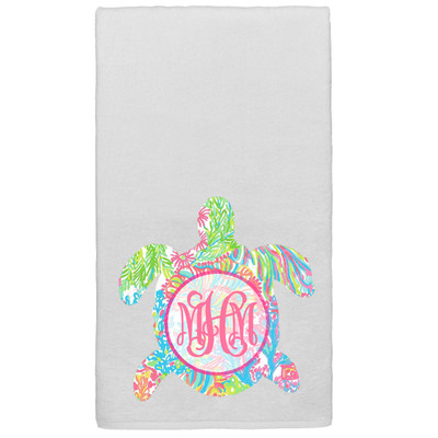 Monogrammed Lilly Sea Turtle Graphic Beach Towel