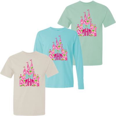 Monogrammed Lilly Castle With Mouse Bow Comfort Colors T-Shirt