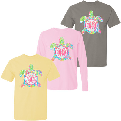 Monogrammed Large Lilly Sea Turtle Comfort Colors T-Shirt