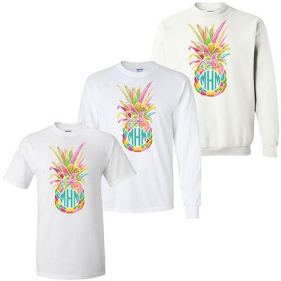 Monogrammed Girls Rainbow Pineapple Graphic Shirt