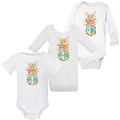 Monogrammed Infant Rainbow Pineapple Graphic Shirt