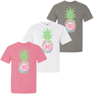 Monogrammed Large Lilly Pineapple Comfort Colors Shirt For Girls