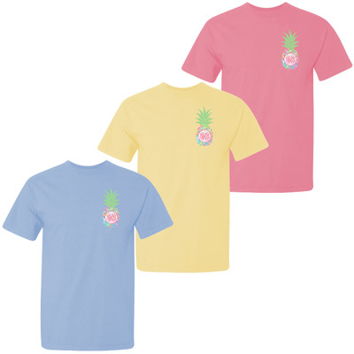 Monogrammed Lilly Pineapple Comfort Colors Shirt For Girls