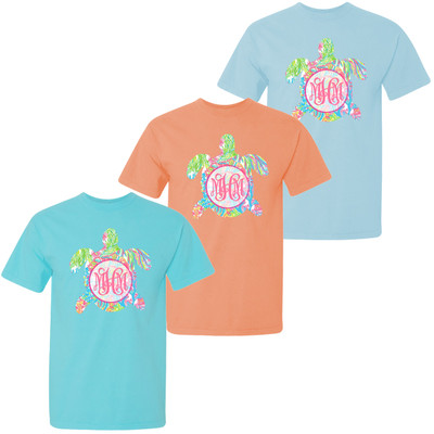 Monogrammed Large Lilly Sea Turtle Comfort Colors T-Shirt For Girls