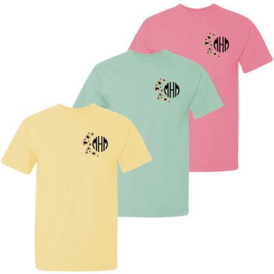 Monogrammed Embroidered Leopard Spots Comfort Colors Shirt For Girls
