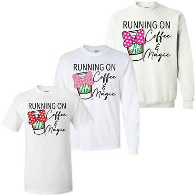 Monogrammed Running On Coffee And Magic Mouse Bow Graphic Tee - Choose Your Design