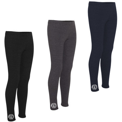 Girls Monogrammed Full Length Leggings