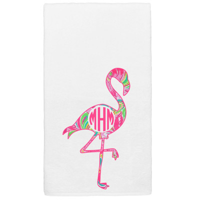 Monogrammed Lilly Flamingo Graphic Beach Towel