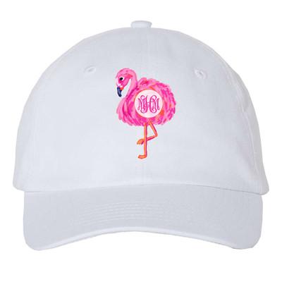 Girls Monogrammed Flamingo Unstructured Cap