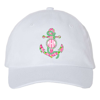 Girls Monogrammed Lilly Anchor Unstructured Cap