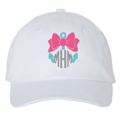 Girls Monogrammed Anchor With Bow Unstructured Cap