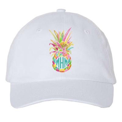 Girls Monogrammed Rainbow Pineapple Unstructured Cap