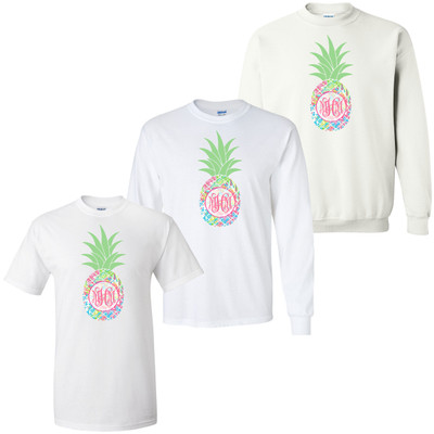 Girls Monogrammed Lilly Pineapple Graphic Shirt