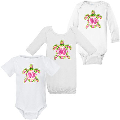 Monogrammed Infant Watercolor Sea Turtle Graphic Shirt