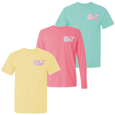 Monogrammed Lilly Whale Comfort Colors Shirt