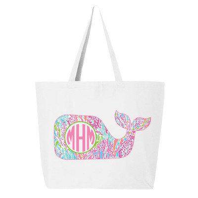 Personalized Lilly Whale Canvas Tote Bag
