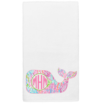 Monogrammed Lilly Whale Graphic Beach Towel