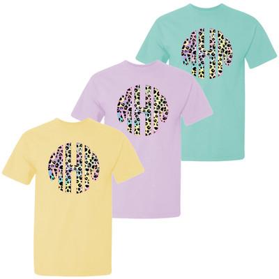 Girls Monogrammed Tie Dye Leopard Comfort Colors Shirt