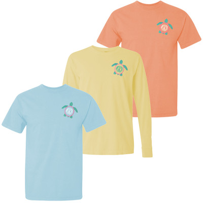 Monogrammed Embroidered Sea Turtle Comfort Colors Shirt