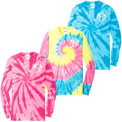 Monogrammed Tie Dye Long Sleeve T-Shirt