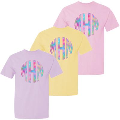 Girls Unicorn Monogram Comfort Colors Shirt