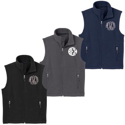 Youth Monogrammed Fleece Vest