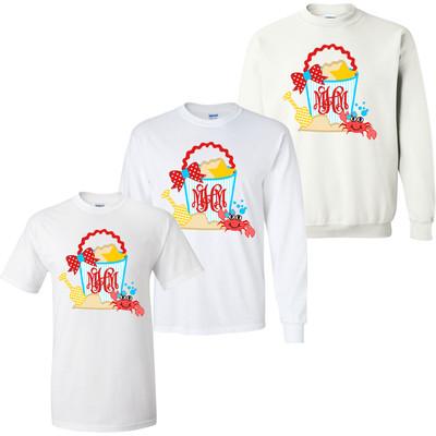 Girls Monogrammed Sand Bucket With Crab Graphic Shirt