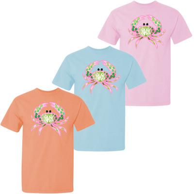 Girls Monogrammed Preppy Crab Comfort Colors Shirt