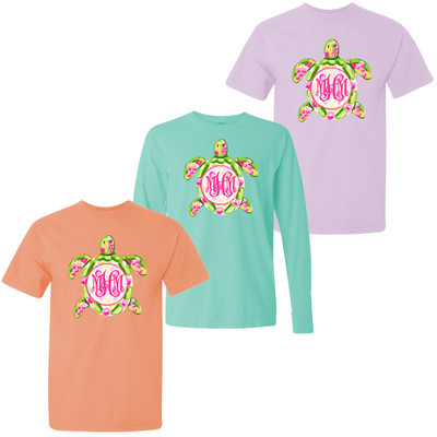 Monogrammed Preppy Sea Turtle Comfort Colors Shirt