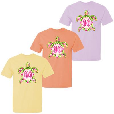 Girls Monogrammed Preppy Sea Turtle Comfort Colors Shirt