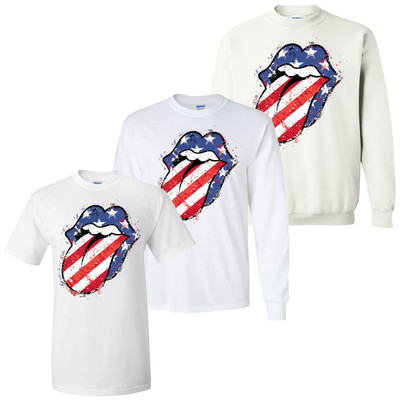 Patriotic Lips And Tongue Graphic Tee