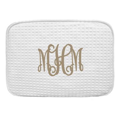 Monogrammed Large Waffle Weave Cosmetic Bag