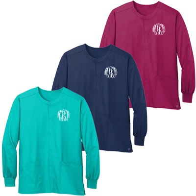 Monogrammed WonderWink Ladies WorkFlex Snap Scrub Jacket