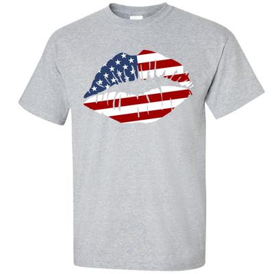 Patriotic Lips Shirt - Sport Gray