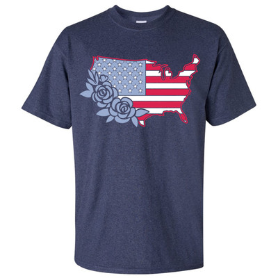 Untied States With Flowers Shirt - Heather Navy
