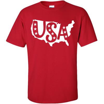 USA Stars Shirt - Cherry Red