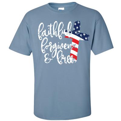 Faithful, Forgiven, Free Shirt - Stone Blue