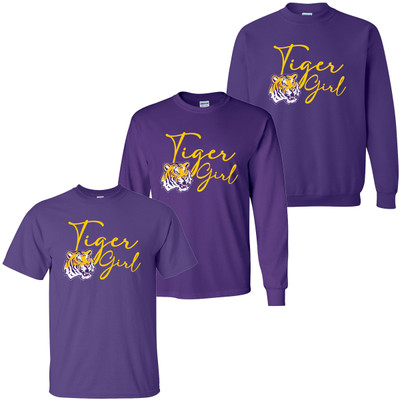 Tiger Girl Shirt - Purple And Gold