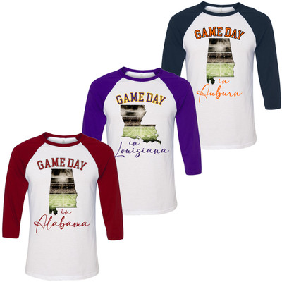 Game Day In State Graphic Raglan Tee