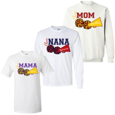 Cheer Parent Pom Pom And Megaphone Graphic Tee Shirt
