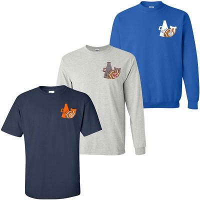 Monogrammed Football And Megaphone Graphic Tee Shirt